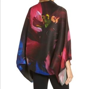 Ted Baker impressionist bloom silk cape scarf